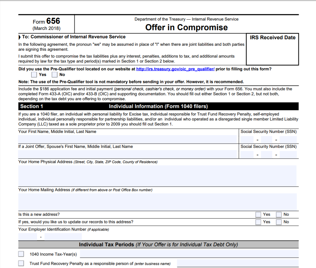 irs form 656 for offer in compromise