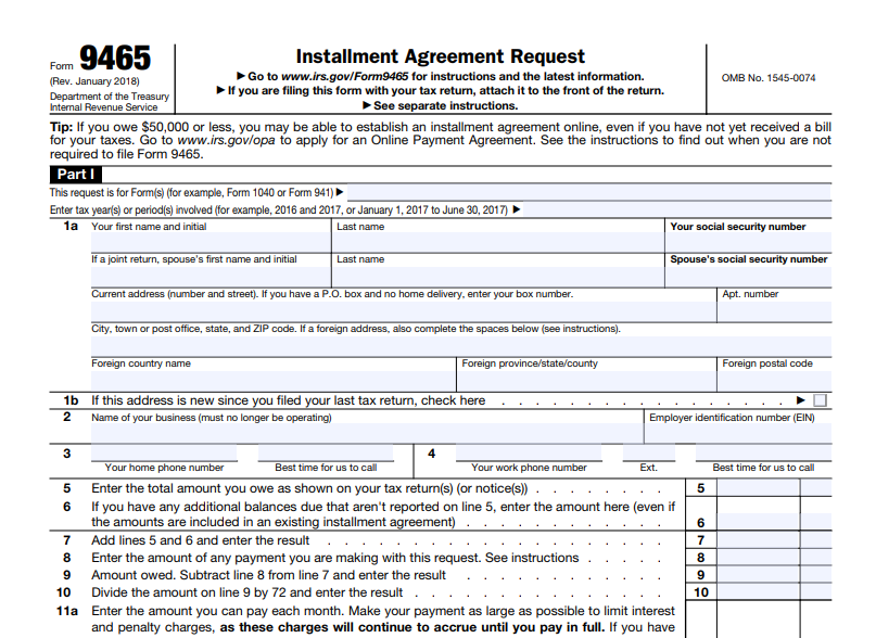 use form 9465 for request installment agreement